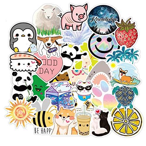 100PCS 10/30 / 50pcs Lindo Animal Fruta Dibujos Animados pequeño Fresco Impermeable Equipaje Cuaderno Cuaderno Scooter Copa de Agua Pegatina joyería al por Mayor estéticas (Color : 10PCS)