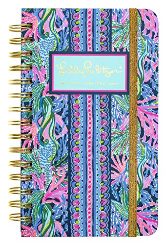 Lilly Pulitzer Medium 2021 Planner Weekly & Monthly, Dated Jan 2021 - Dec 2021, 12 Month Hardcover Agenda with Notes/Address Pages, Colorful Stickers, Pocket, Laminated Dividers, Bringing Mermaid Back