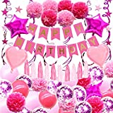 pink birthday party decoration,48Pcs rose red and pink themed birthday party decoration for the birthday party supplies pink happy birthday decorations
