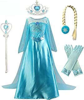 Kuzhi Princess Elsa Anna Cosplay Costume with Crown Wand Gloves and Wig