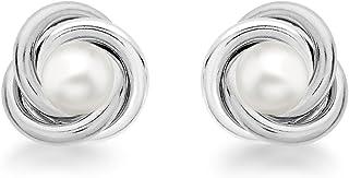 Tuscany 纯银 10mm 结和珍珠耳钉