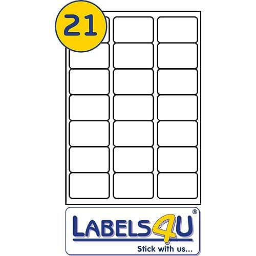 Labels4u STW064038CO 21 Per Page//Sheet 100 Sheets White Blank Matt Self-Adhesive