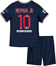 LCHENX-Unisex Boys Girls Kids Soccer Jersey Set Neymar #10 Brazil Football Team Fans Sports Shirt T-Shirt Shorts Sportswear