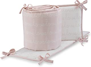 Lambs & Ivy Sweetheart Pink/White Love Script 4-Piece Baby Crib Bumper
