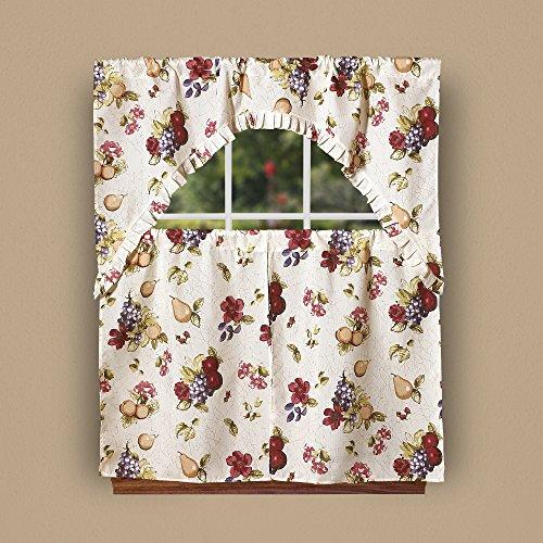 Violet Linen European Paradise Fruits Vintage Print 3 Piece Kitchen Curtain Set