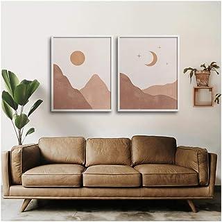Cjyrjcc Sun Moon Print Boho Bedroom Decor Modern Mid Century Minimalist Poster Terracotta Wall Art Picture Living Room Can...