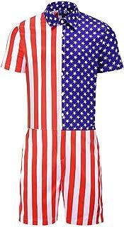 Men Summer Romper Jumpsuit,Tronet Men's American Flag Striped Button Short Sleeve Top Shirt Siamese Pants