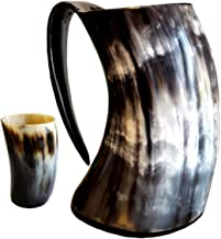 Genuine Viking Drinking Horn Mug Medieval Beer Tankard | 20oz capacity | Highest Quality Horn Cup/Stein With Free Horn Shot Glass | Perfect Gift