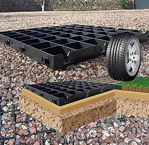 Ecotatou Stabilisateur de Gravier (50x50x4cm) 5m2 = 20 grilles. Noires, robustes, durables en plastique recyclé