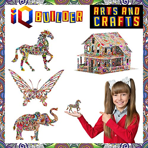 IQ BUILDER | Arts and Crafts for Girls Age 12 Year Old and UP | 3D Art Coloring Painting Animal Puzzle Set | Fun Creative DIY Toys | Family Craft KIT with Supplies | Best Toy Gift for Kids