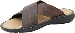 Athlego Men's Leather Floaters with Comfortable Grip in Brown Color