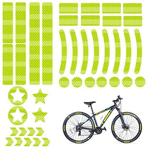 Reflectores Adhesivos, 42 Piezas Pegatinas Reflectantes, Reflectante Adhesiva Kit, Adhesivos Reflectantes Amarillo, Pegatina Reflectante Bicicleta, para Casco, Cochecito, Moto, Bici