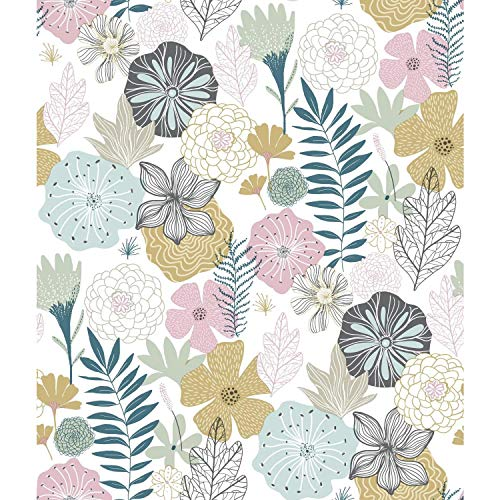 RoomMates Perennial Blooms Peel and Stick Wallpaper, Pink