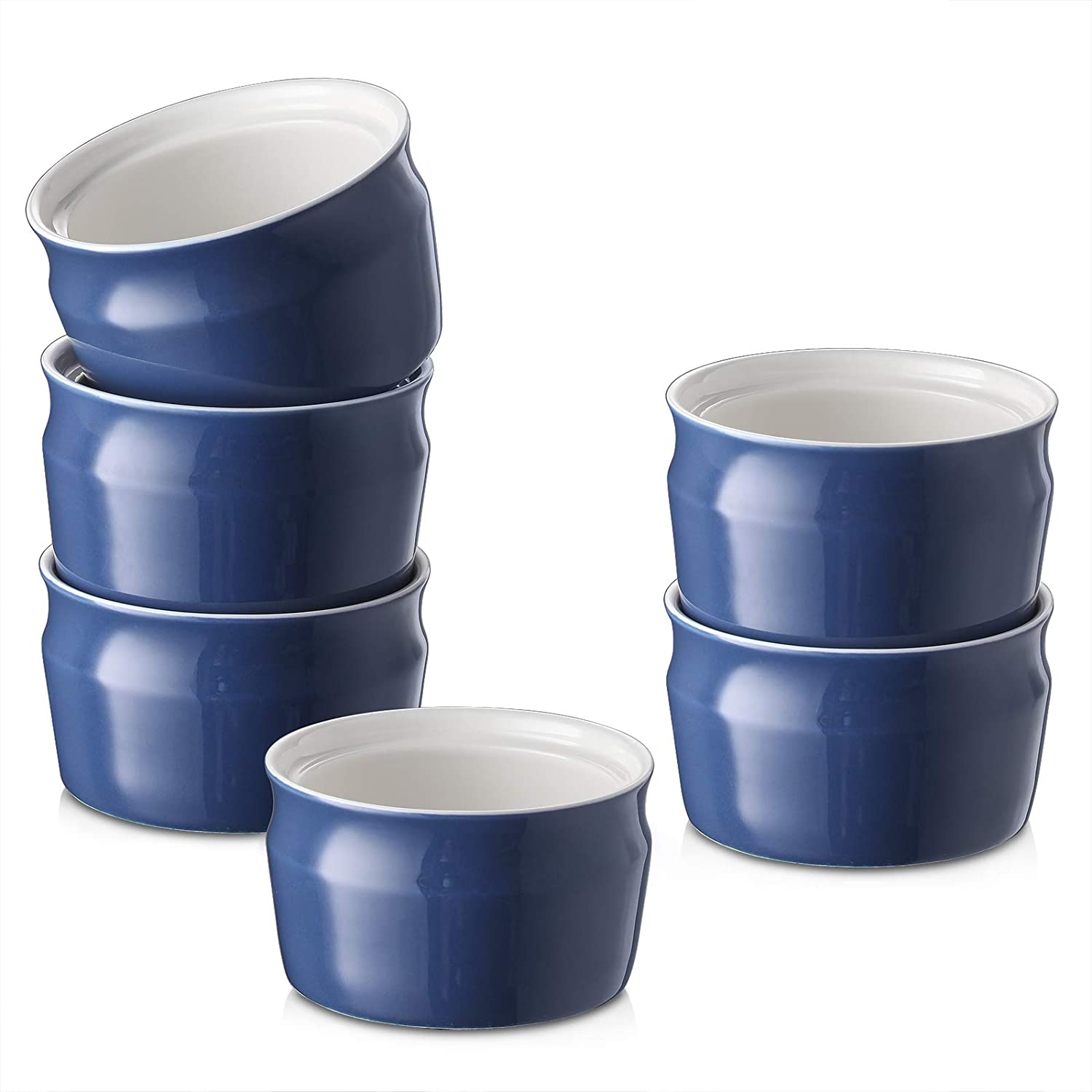 Oven Safe Souffle Ramekins for Creme Brulee Pudding ZONESUM Porcelain Ramekins Bowls 8 Oz Durable /& Versatile Ceramic Ramekins Dishes for Baking Small Dessert Bowls Navy Blue Set of 6