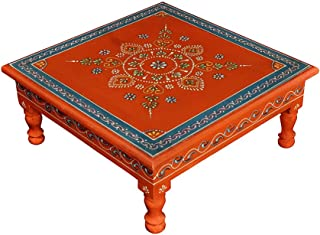 Lalhaveli Traditional Handpainted Work Design Wooden Bajot Table Footstool 13 X 13 X 5.5 Inches