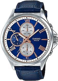 ساعة كاسيو للرجال MTP-E316L-2A2V - كاجوال، أنالوج بسوار من الجلد لون ازرق