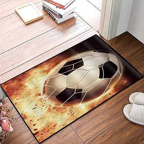 QDYLM Alfombra de baño de Microfibra esponjosa,Burning Soccer Fire Goal Net Flying Football Deporte temático, alfombras de Ducha de Suave Absorbente de Agua, 50x80 cm