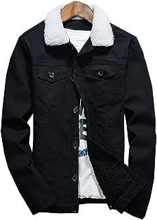 LifeHe Men's Winter Fleece Wool Blend Lined Denim Jacket Coats