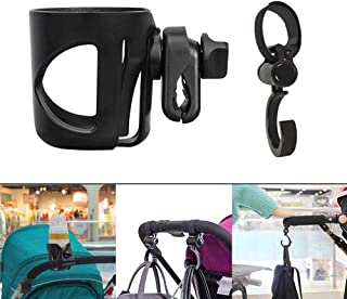 Stroller Cup Holder, Hamkaw Portable Bike Cup Holder with Hook, Universal 360 Degrees Rotation Drink Bottle Holder Fit Tight for Baby Stroller/Pushchair/Wheelchair, Handfree & Antislip