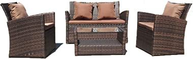 UFI Outdoor Patio Furniture Sets 4 Pieces Rattan Chair Wicker Furniture Conversation Sofa Set with Back Cushions, Outdoor Ind