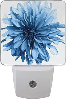 2 Pack 0.5W Light Blue Dahlia Flower Printing Plug-in LED Night Light Lamp with Dusk to Dawn Sensor for Bedroom, Bathroom, Hallway, Stairways