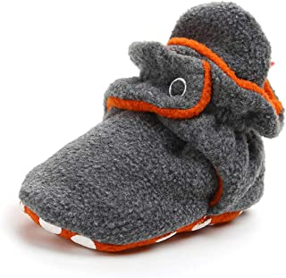 Sawimlgy US Cozies Fleece Booties with Gripper Bottom - Baby Boys Girls Stay On Shoes