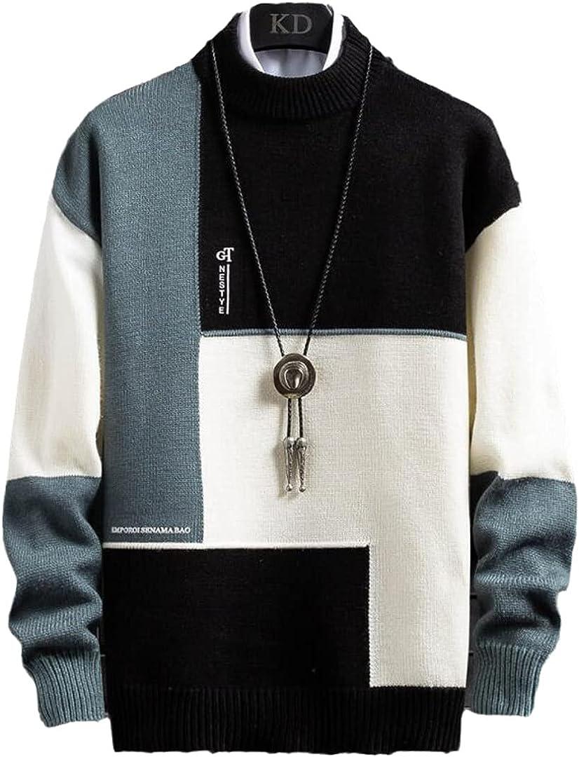 Winter Cashmere Very popular! Warm Sweater Men Turtleneck half Pullover Mens Patchw