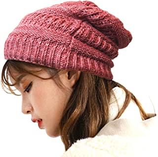 Luxxii Warm Cable Knit Soft Beanie Inner Lined for Women - One Size Fits Most Winter Hats Knit Beanie Cap