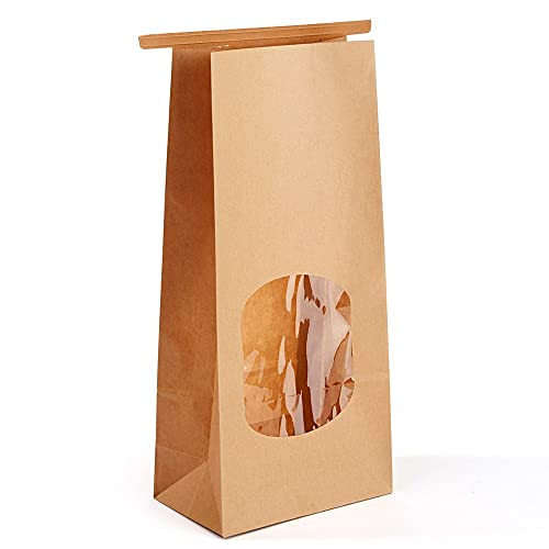 d7a61fe85a46 Halulu Bakery Bags Paper Treat Bags Resealable Kraft Paper Bags Cookie  Popcorn Bags with Windows