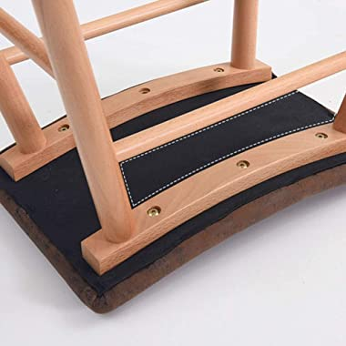LIXIONG Ottomans Pouffes Footstools Solid Wood Bracket PU Cushion Shoe Bench European Style Strike Prevention Bearing 100KG,