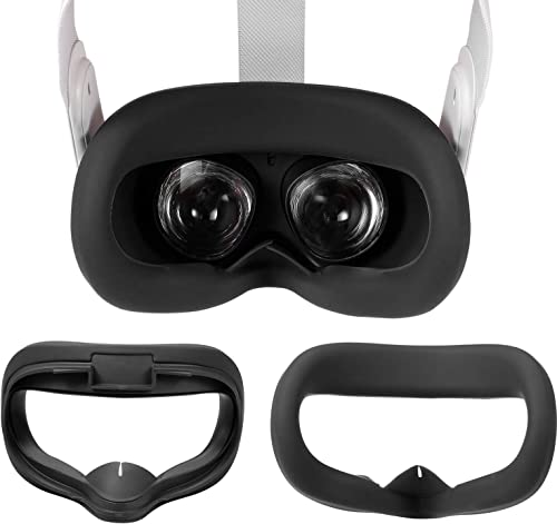Yocaya VR Silicone Interfacial Cover for Oculus Quest 2 Eye Cushion Cover Sweatproof Lightproof Anti-Leakage (Black)