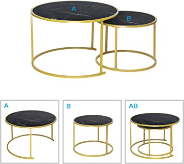 nozama Nesting Coffee Tables Set of 2 Black Coffee Table Modern Round Sofa Tables for Home Office (Black)