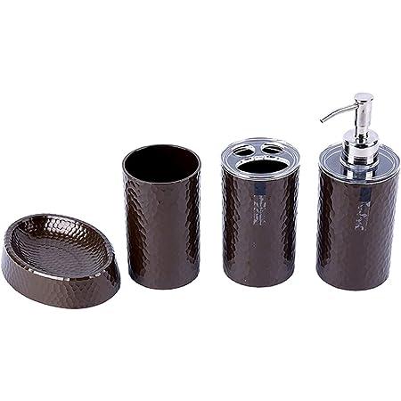 London Boutique Lot de 4 accessoires de salle de bain avec distributeur de savon, porte-brosse à dents, gobelet, porte-savon, blanc, noir, marron