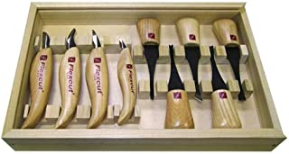 Flexcut Carving Tools, Deluxe Palm & Knife Set, with 4 Carving Knives and 5 Palm Tools (KN700)
