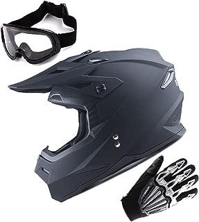 1Storm Adult Motocross Helmet BMX MX ATV Dirt Bike Helmet Racing Style Matt Black; + Goggles + Skeleton Black Glove Bundle