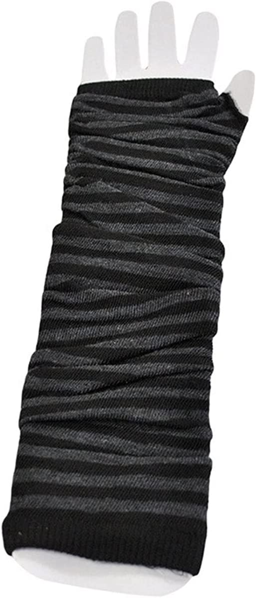 Rjjrr Women Warmer Long Style Fingerless Gloves Warmer Knitted Fashion Beautful Mitten (Color : Black Gray)
