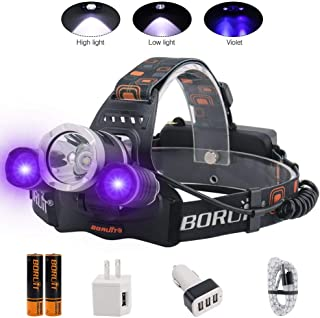 BORUIT Headlamp with Purple UV Light - Purple Ultra Violet Headlight - Glow in Dark Backlight Head Lamp -Detect Fake Money/Jewelry - Pet UV Urine & Stain Detector- Find Fluorescent Agent on Clothes