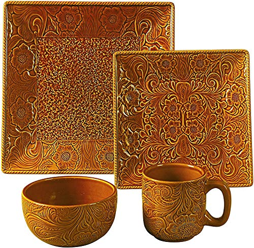HiEnd Accents 16-Piece Savannah Western Dishes Set, Mustard