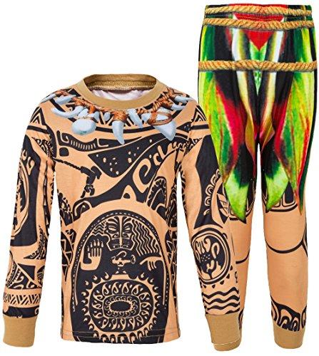 AmzBarley Moana Maui Kostüm Kinder Jungen Tätowierung Schlafanzüge Pjs Pyjama, Braun Lange 02, 5-6 Jahre