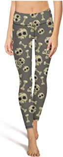 Camouflage Skull Workout Running Leggings for Women Tummy Control Stretch Yoga Pants with Pockets