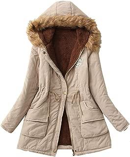 Women Winter Warm Coat Faux Fur Collar Hooded Zipper Button lace Up Outwear