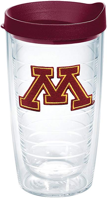 Tervis 1261029 Minnesota Golden Gophers M Logo Insulated Tumbler With Emblem And Maroon Lid 16oz Clear