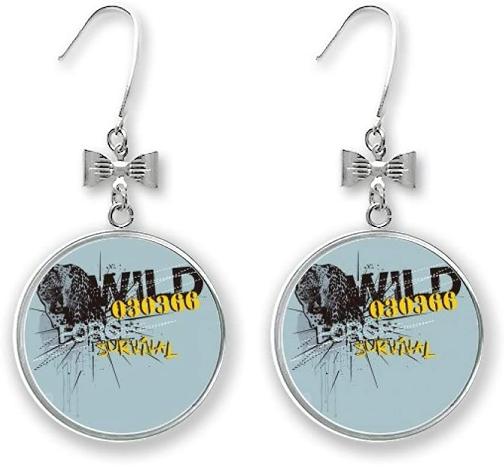 Graffiti Street Yellow At the price of surprise Blue Gorgeous Leopard Drop Earrings St Bow Pattern
