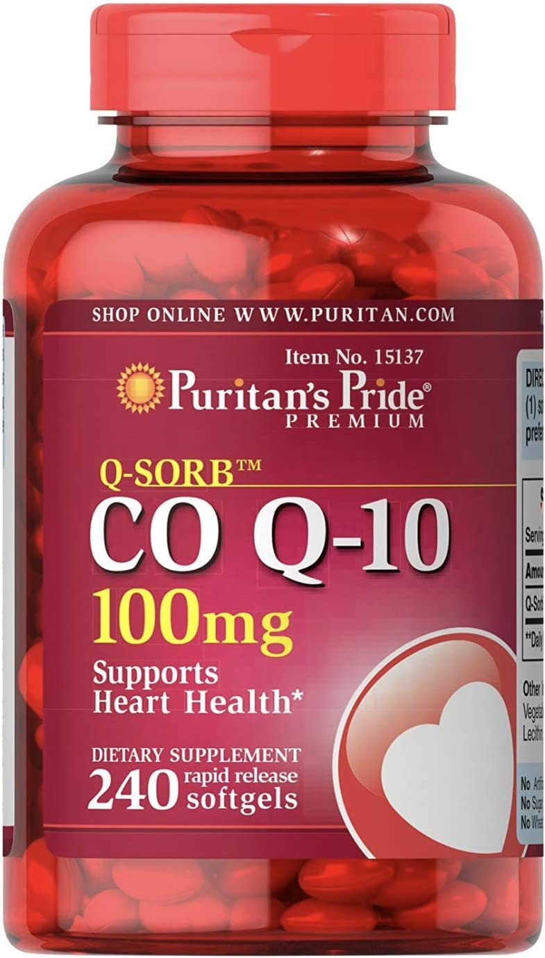 Puritans Pride CoQ10 100mg, Supports Heart Health, 240 Rapid Release Softgels : Health & Household