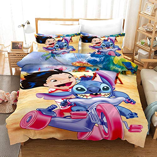 GuoDamei Duvet Covers King Bed Size 220x240 cm Stitch Bedding Set 3 Pc 100% Microfiber with Hidden Zipper Closure + 2 Pillow covers 50x75 cm Easy Care And Super Soft Design