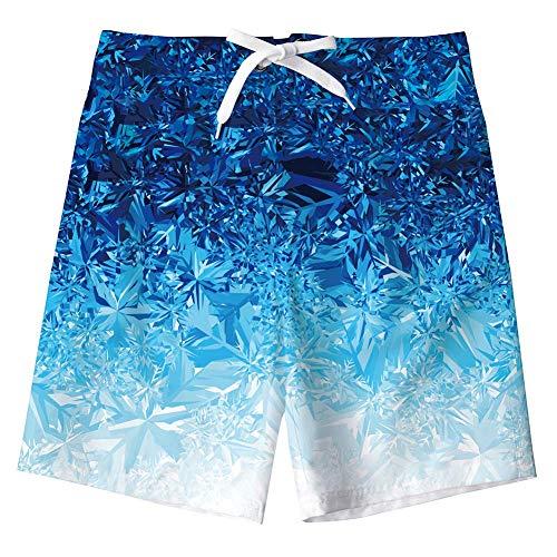 AIDEAONE Jungen Badehose mit Mesh-Futter Schnell Trocknend Blau Rauch Shorts Strandhose