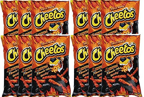 Cheetos Crunchy Xxtra Flamin' Hot Snack Care Package for College, Military, Sports Net Wt 2 1/4 Oz (12)
