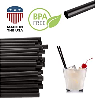 Jumbo Black Drinking Cocktail Straws: Made in USA, BPA Free: (5.75