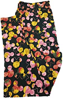 Lularoe TC2 Disney Mickey and Minnie Mouse Color Splash Black Yellow Pink Green Gray Leggings fits Adult Sizes 18+