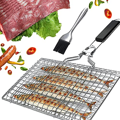 Grillkorb Fischbräter, Tragbares Grill Fischhalter Grillkorb tragbar und faltbar Großzügige Kochfläche für Gemüse, Fisch, Fleisch Perfekt Barbecue Grillen Kit